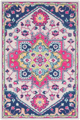 Technicolor TEC-1007 2' x 3' Rectangle Traditional Rugs in Bright Pink  Dark Blue  Ivory  Mint  Lime