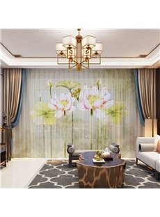 3D Modern Style Lotus Flowers Printed Decorative 2 Panels Custom Sheer