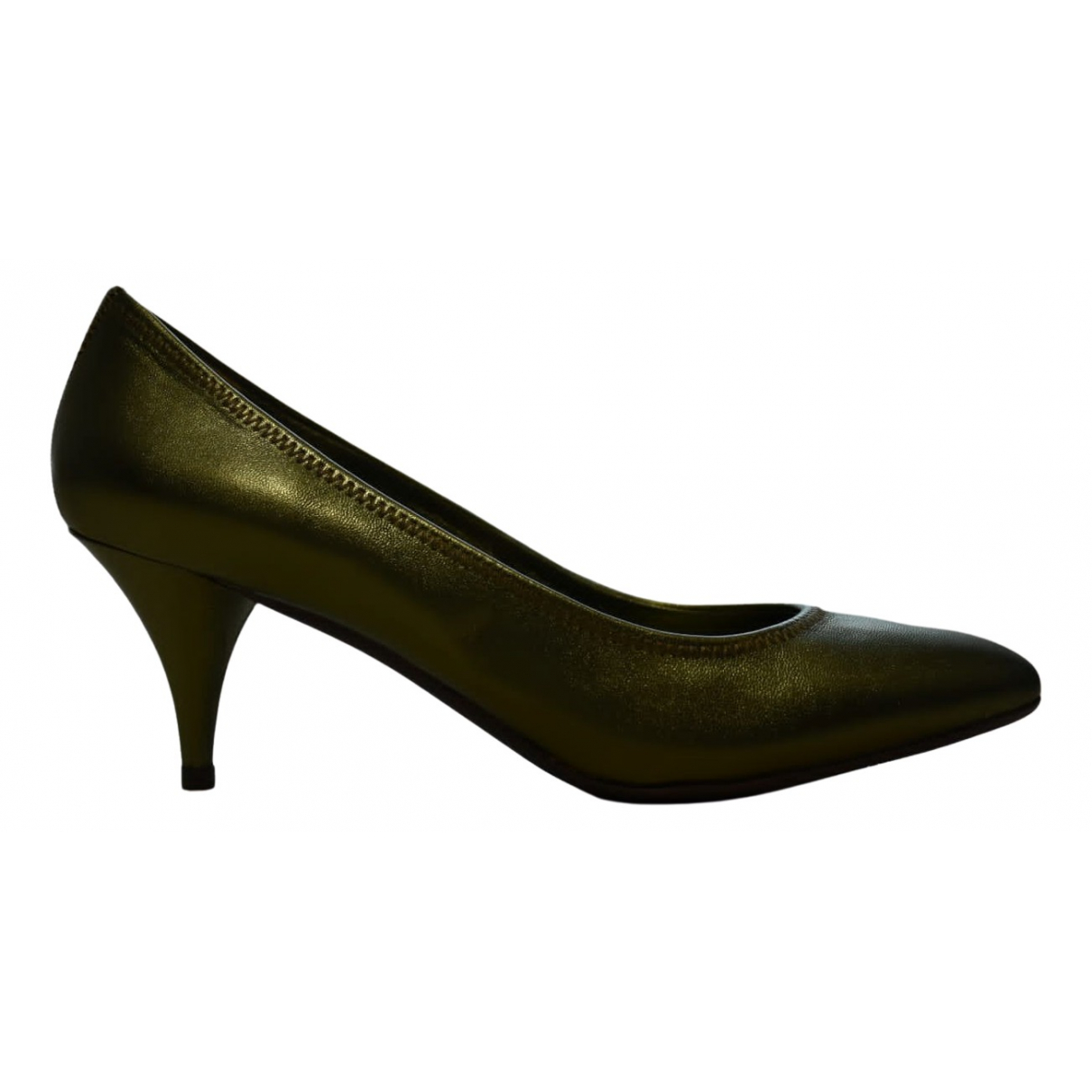 Prada N Green Leather Heels for Women 37.5 EU