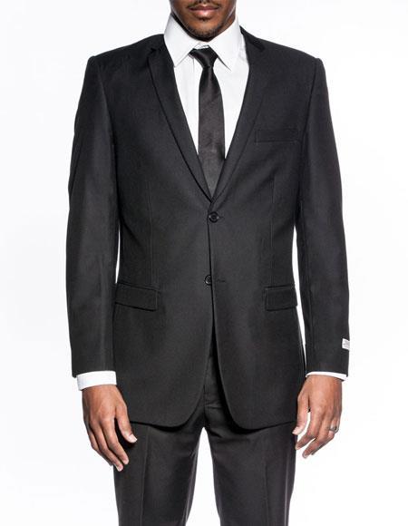 Mens classic black extra slim fit wedding prom skinny suit