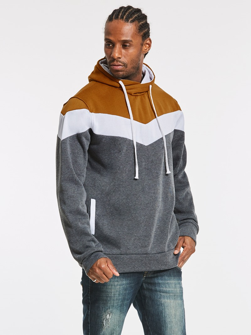 Ericdress Patchwork Color Block Slim Fit Mens Hoodie