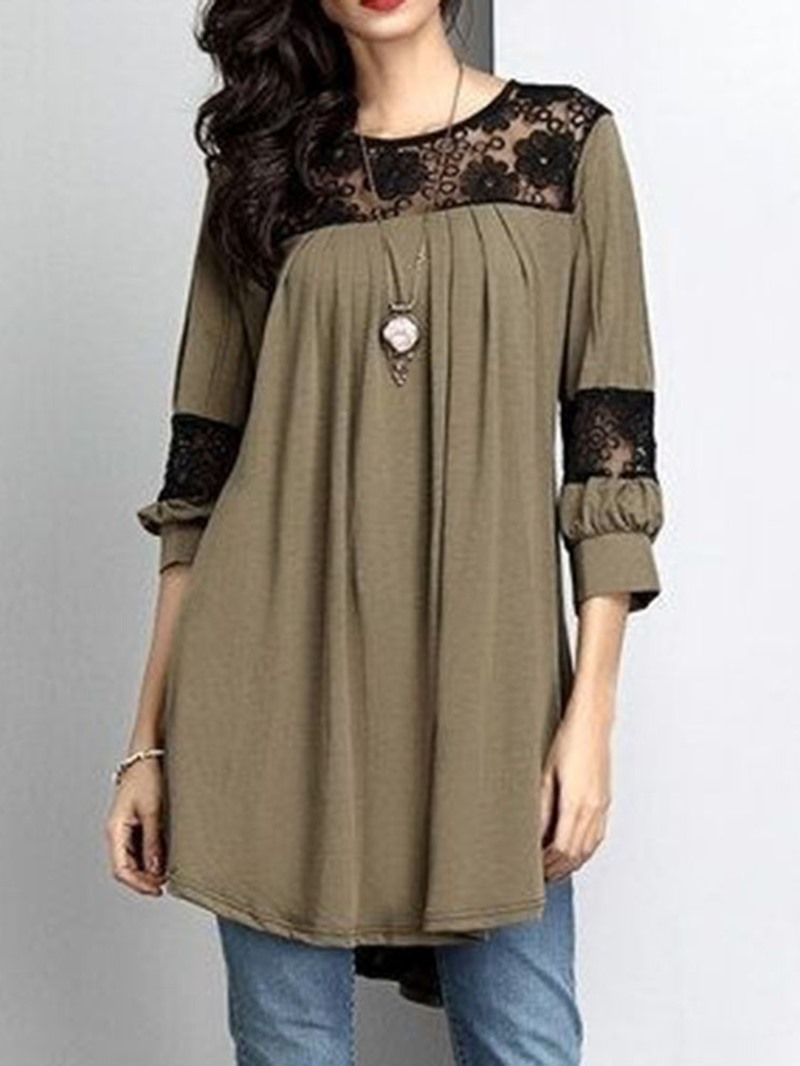 Ericdress Patchwork Lace Round Neck Mid-Length Casual Blouse