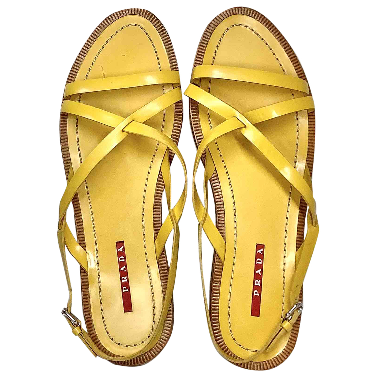 Prada \N Yellow Leather Sandals for Women 39 EU