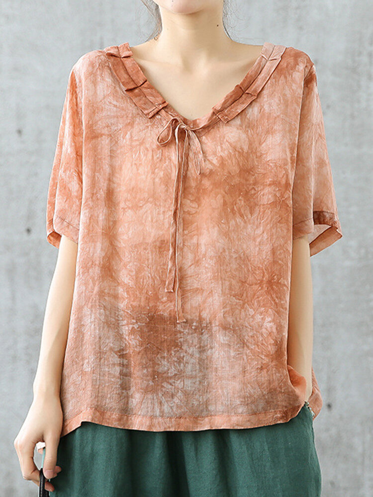 Solid Color Ruffle V-neck Drawstring Short Sleeve Blouse