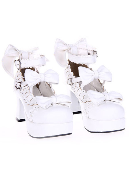 Milanoo Dulce Lolita Tacones Gruesos Zapatos Plataforma Tobillo Tirantes Lazos