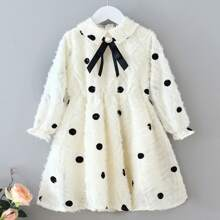 Toddler Girls Bow Front Raw Trim Polka Dot A-line Dress