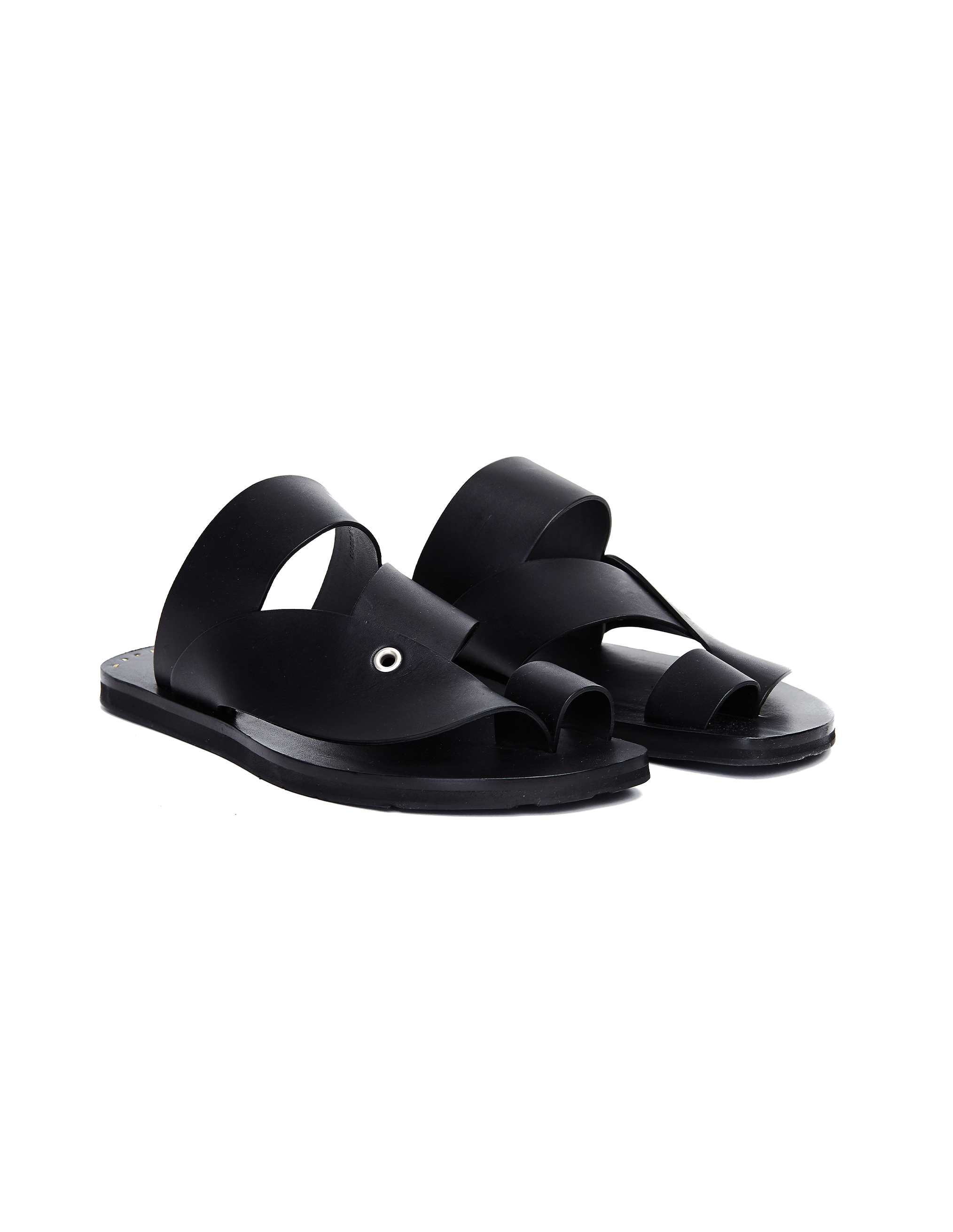 Jil Sander Black Leather Sandals