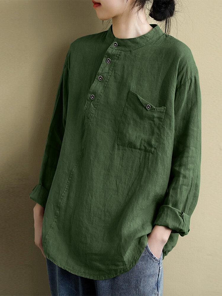 Solid Color Button Long Sleeve Plus Size Blouse