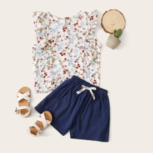 Floral & Plants Print Ruffle Trim Top With Bow Shorts