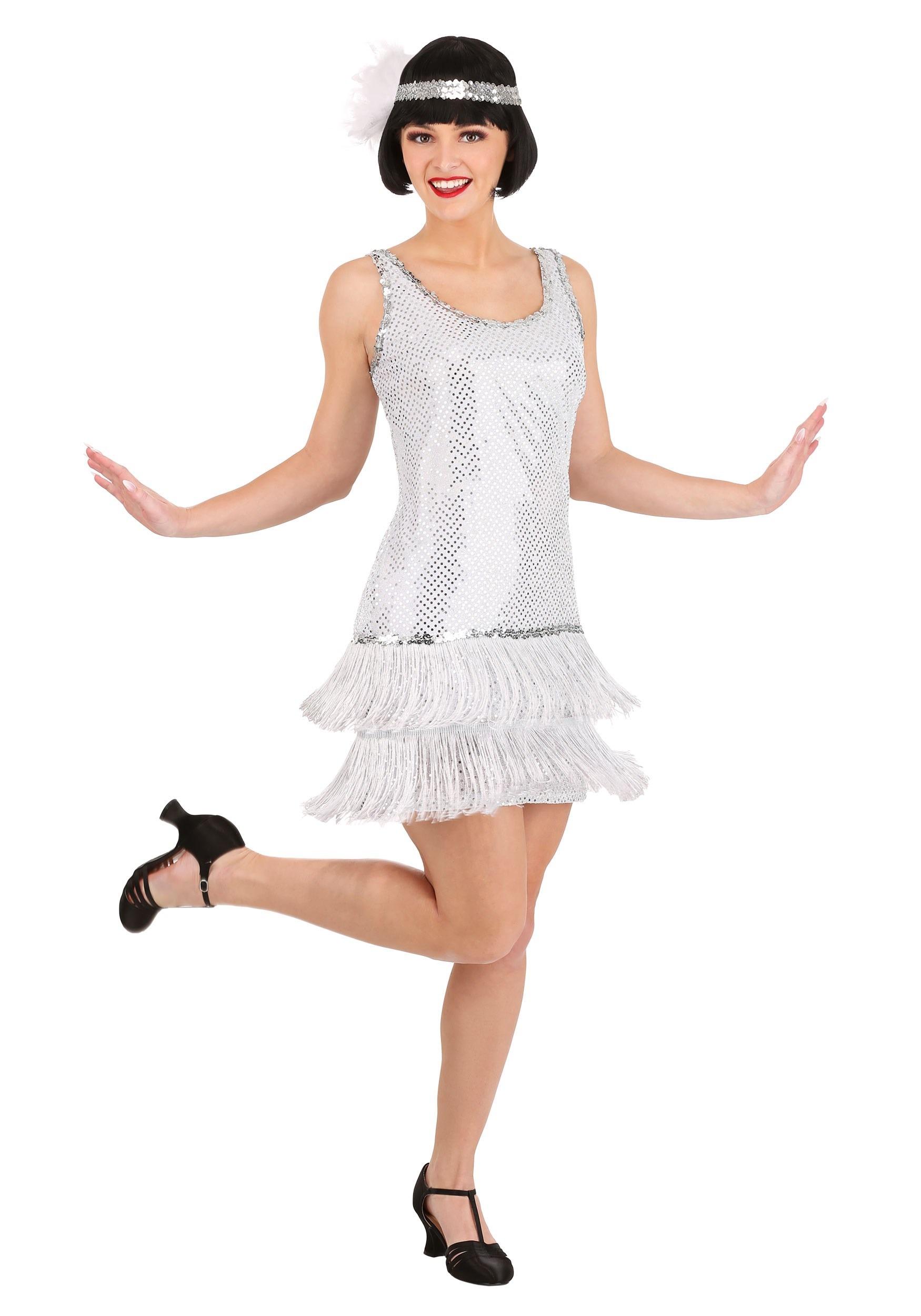 Women's Silver Plus Size Flapper Dress Costume