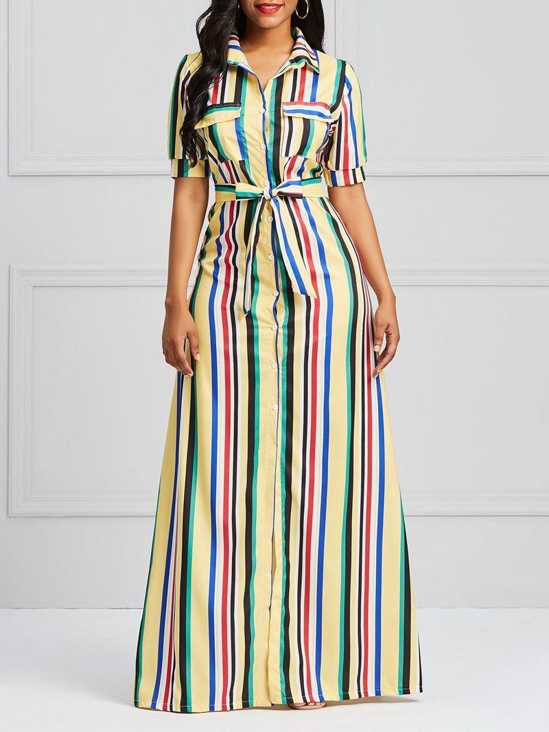 Ericdress Stripe Single-Breasted Women's Dress