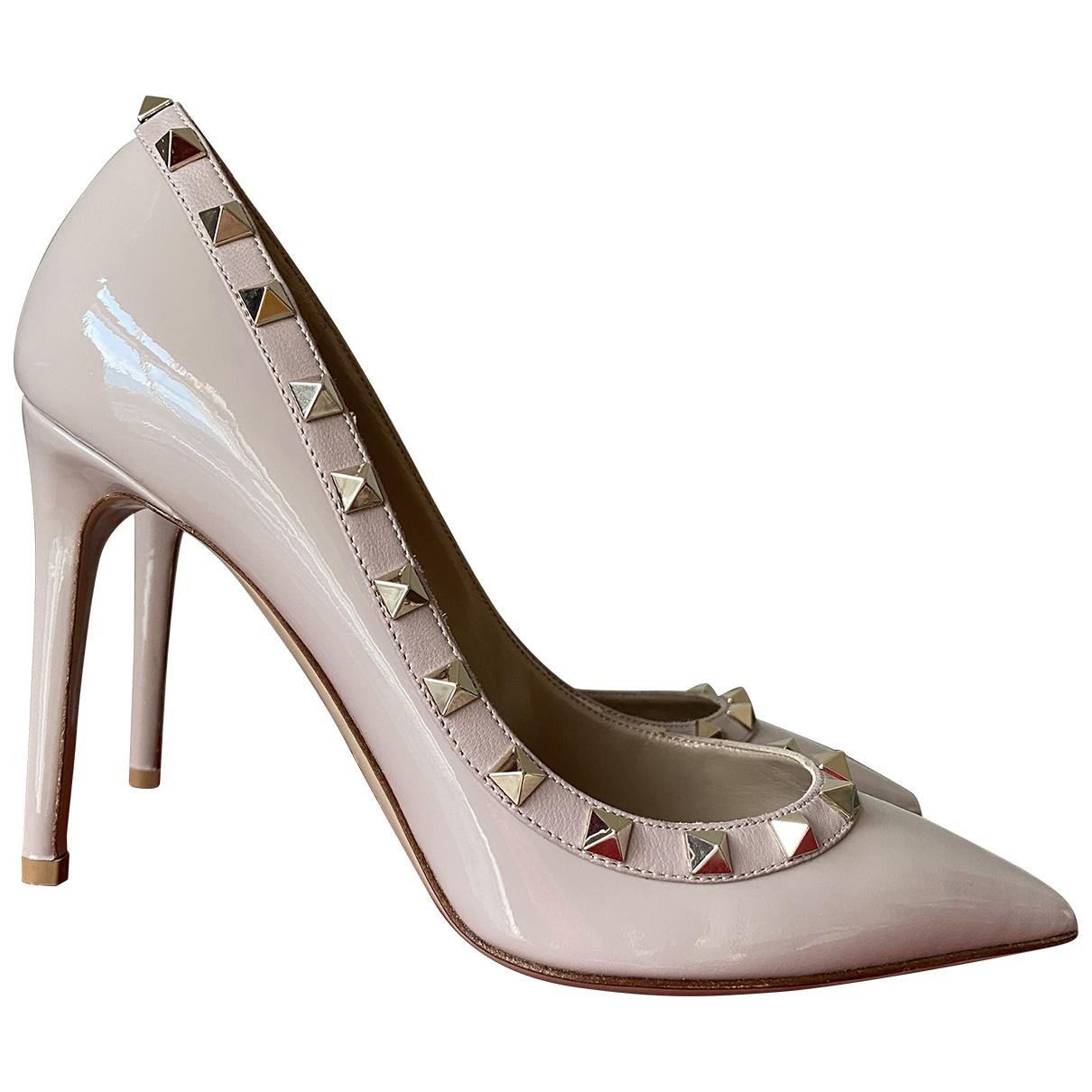 Valentino Garavani Rockstud Beige Patent leather Heels for Women 37 EU