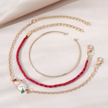 3pcs Snowman Decor Bracelet