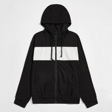 Men Color Block Zip Up Drawstring Hoodie