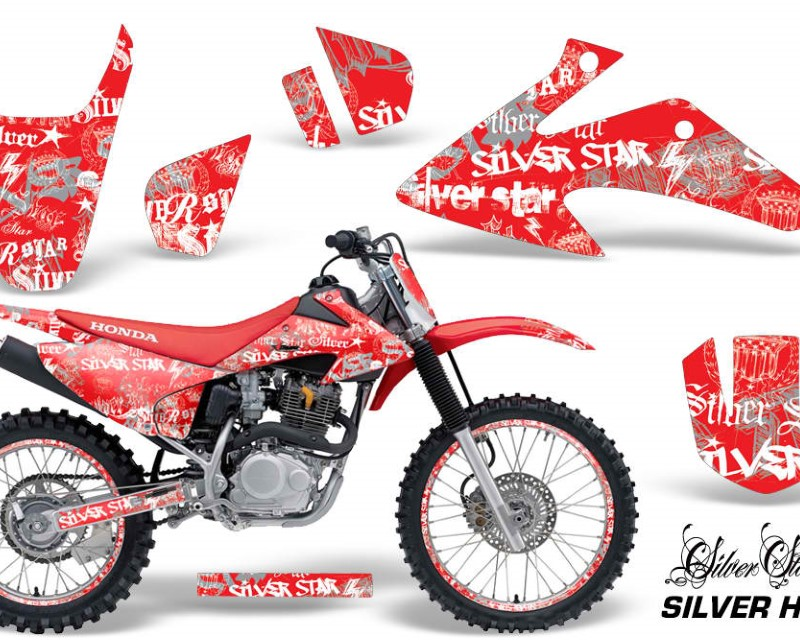 AMR Racing Graphics MX-NP-HON-CRF150-CRF230F-08-14-SSSH W R Kit Decal Wrap + # Plates For Honda CRF150 | CRF230F 2008-2014áSSSH WHITE RED