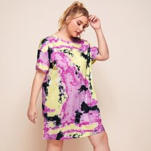 Plus Drop Shoulder Tie Dye Tee Dress