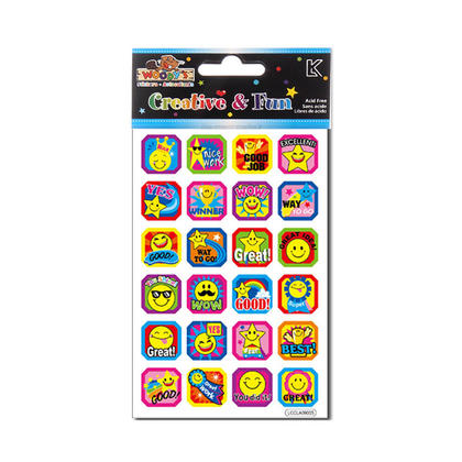 Smile Face Reward Teacher Foil Stickers, 4 x 6 - Woodys