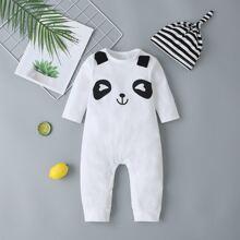 Baby Jumpsuit mit Panda Muster, Knopfen und Hut