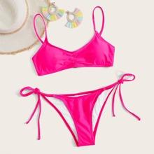 Neon Pink Tie Side Bikini Badeanzug