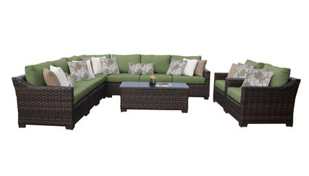 RIVER-10a-CILANTRO Kathy Ireland Homes and Gardens River Brook 10-Piece Wicker Patio Set 10a - 1 Set of Truffle and 1 Set of Forest