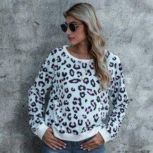 Pullover de leopardo de manga raglan