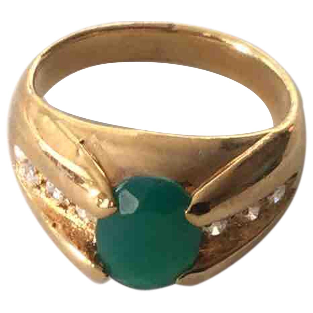 Non Signe / Unsigned Emeraude Ring in  Gruen Vergoldet