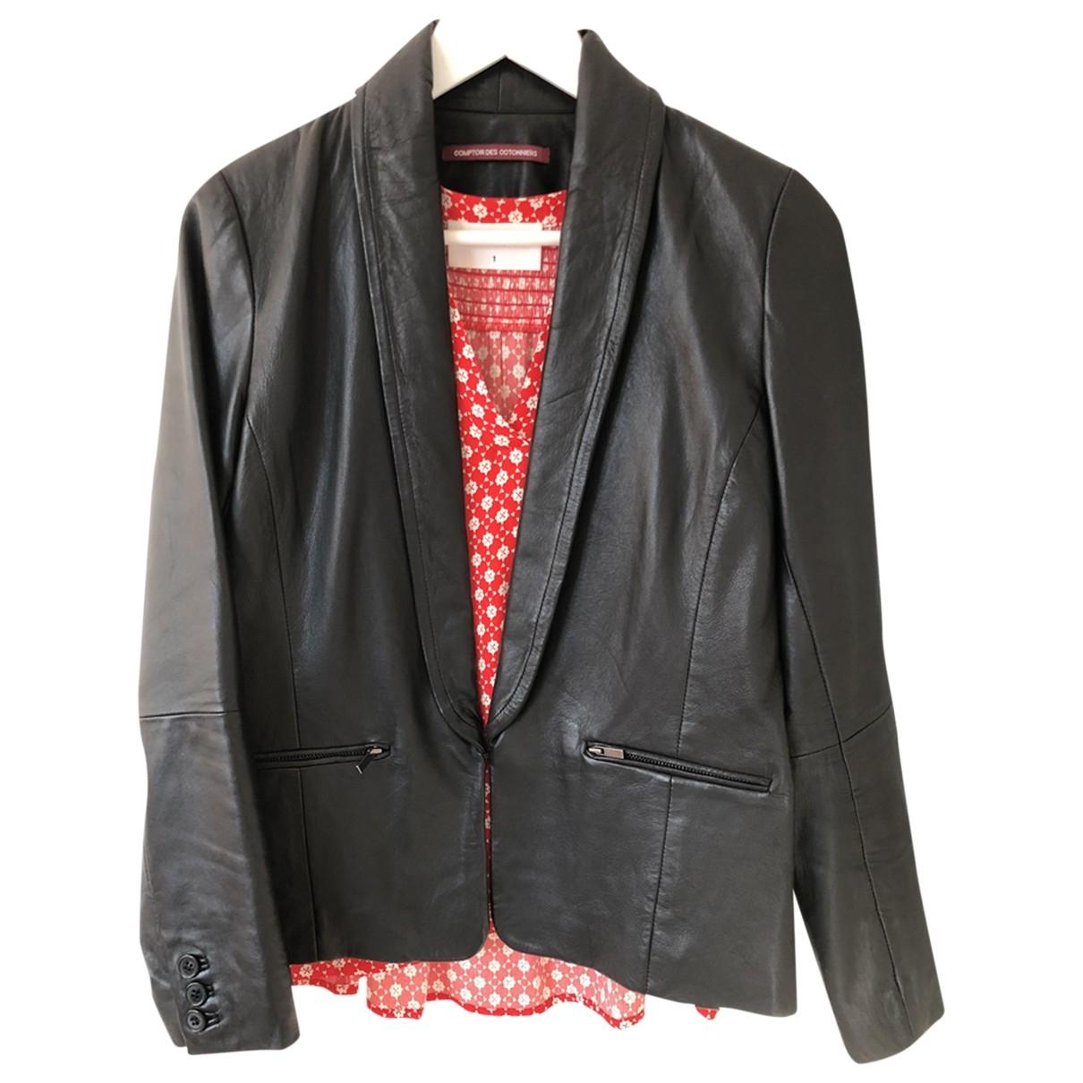 Comptoir Des Cotonniers - Veste   pour femme en cuir - noir