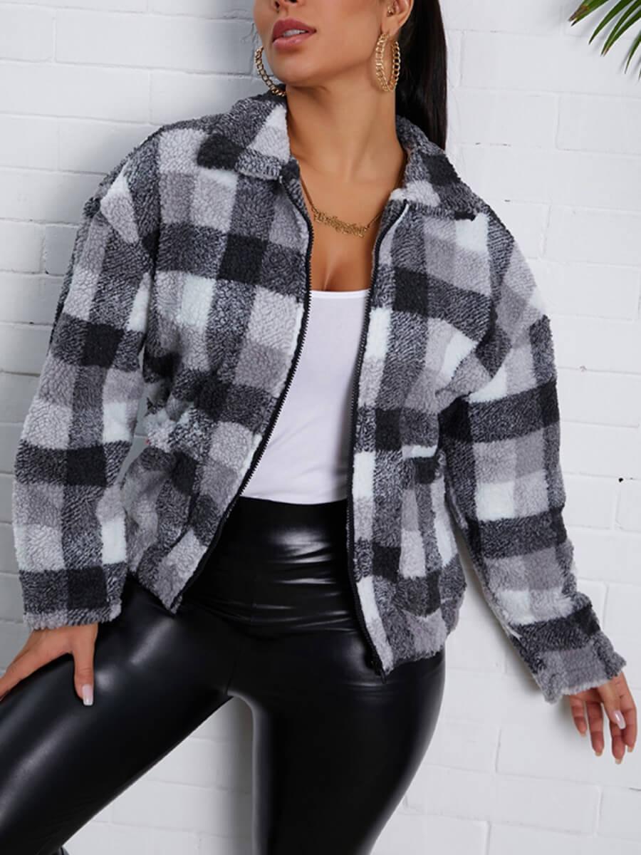 LW Lovely Trendy Turndown Collar Grid Print Black Faux Fur