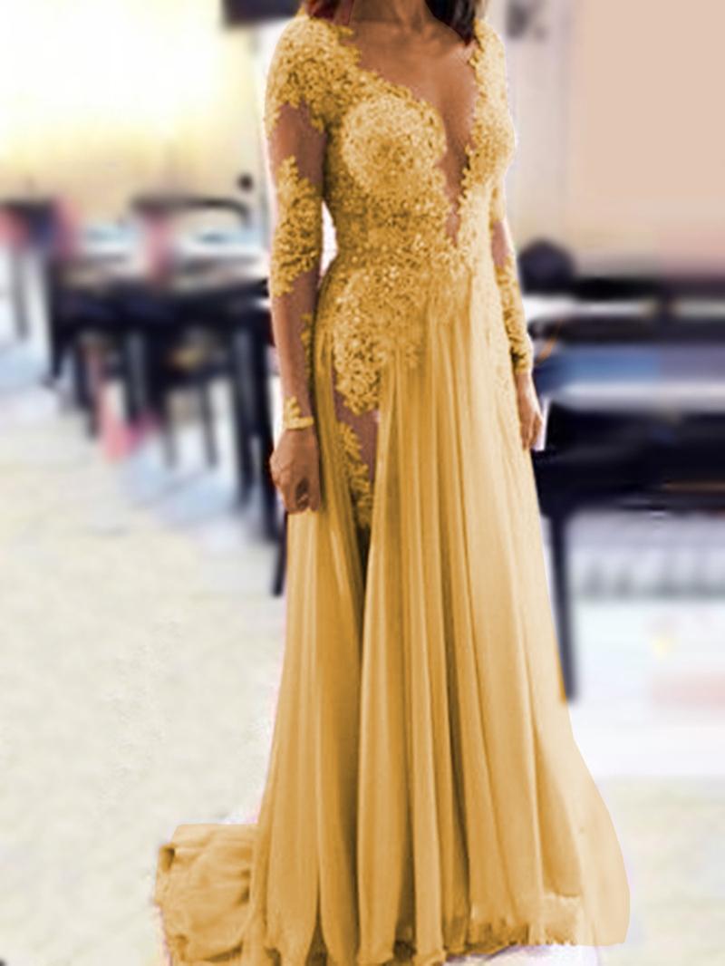 Ericdress Sheer Neck Beading Long Sleeve Evening Dress