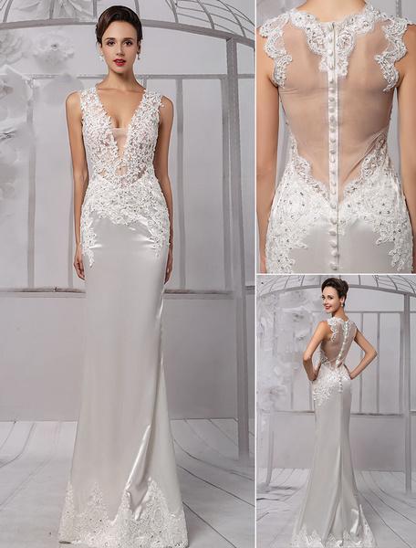 Milanoo Vestido de novia de encaje con cuello en V y cuentas