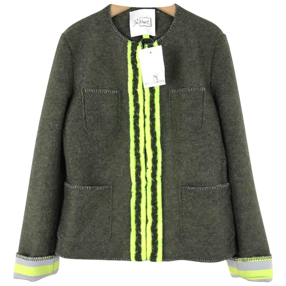 De Hart \N Jacke in  Gruen Wolle