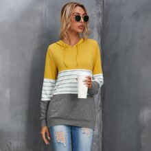 Colorblock And Striped Print Hoodie