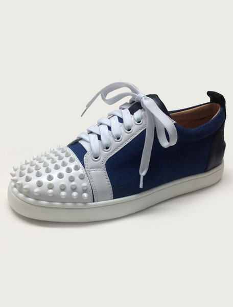 Milanoo Blue Skate Shoes Leather Men Round Toe Lace Up Rivets Sneakers Spike Shoes