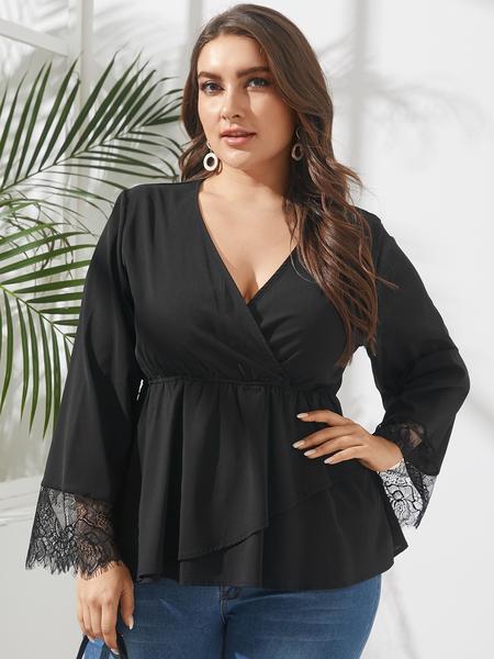 Yoins Plus Size V-neck Lace Wrap Design Long Sleeves Blouse