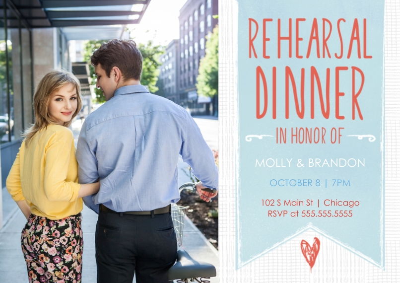 Rehearsal Dinner Invites 5x7 Cards, Premium Cardstock 120lb with Scalloped Corners, Card & Stationery -Hanging Banner Rehearsal Dinner