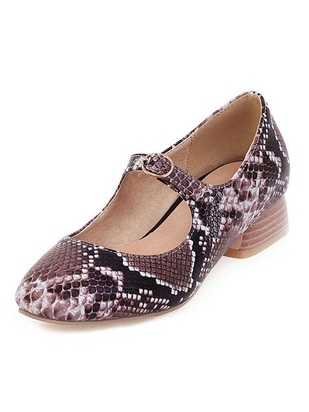 Milanoo Tacones medio-bajos para mujer Zapatos con estampado de serpiente con tacon cuadrado y tacon cuadrado Mary Jane
