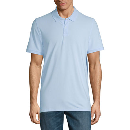 St. John's Bay Premium Stretch Mens Short Sleeve Polo Shirt, Large , Blue