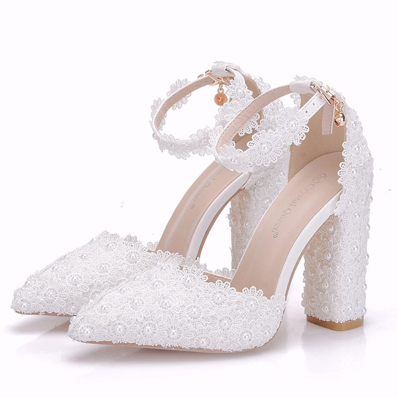 Ericdress Lace Floral Chunky Heel Wedding Shoes