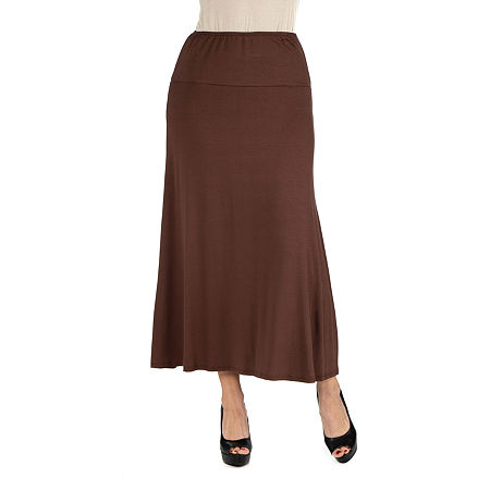 24/7 Comfort Apparel Elastic Waist Solid Maxi Skirt, X-large , Brown