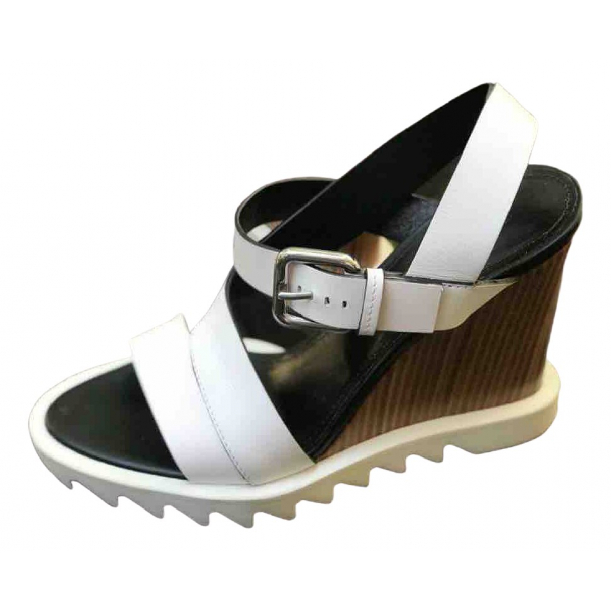Jil Sander \N White Patent leather Sandals for Women 36 EU