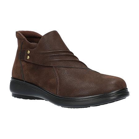 Easy Street Womens Jo Booties Flat Heel, 9 Narrow, Brown