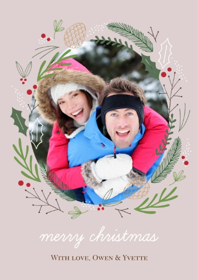 Christmas Photo Cards Flat Glossy Photo Paper Cards with Envelopes, 5x7, Card & Stationery -Forest Wreath Christmas