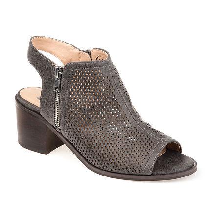 Journee Collection Womens Tibella Booties Block Heel, 9 1/2 Medium, Gray