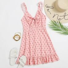 Cami Kleid mit Raffungsaum, Punkten Muster und Knoten