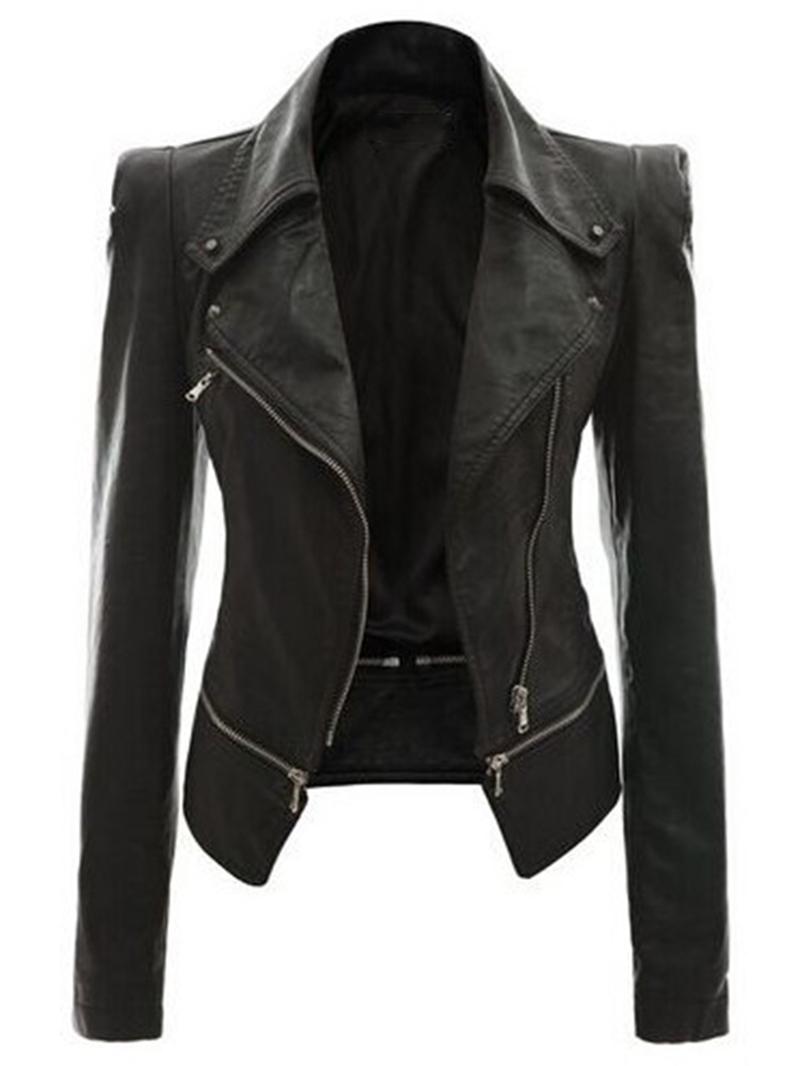 Ericdress Zipper Lapel PU Slim Jacket
