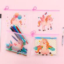 4 piezas estuche con estampado de unicornio