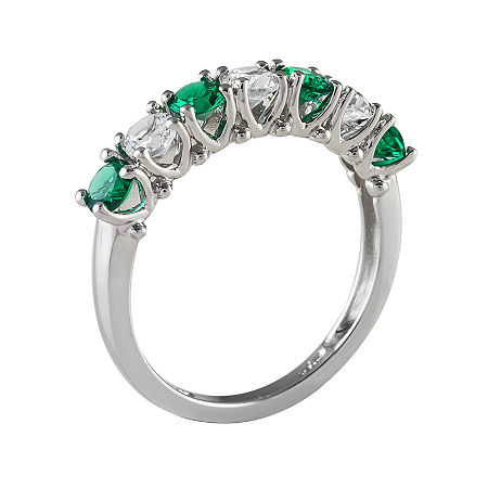 Lab-Created Emerald & Lab-Created White Sapphire Sterling Silver Ring, 7 , No Color Family