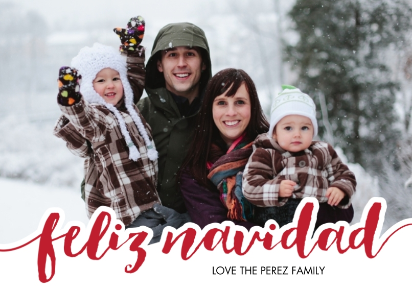 Tarjetas de Navidad 5x7 Cards, Standard Cardstock 85lb, Card & Stationery -Feliz Navidad Bold