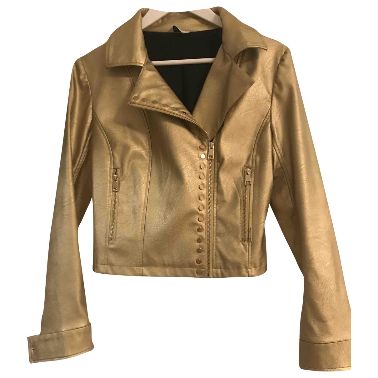 Liu.jo \N Gold Leather jacket for Women 42 IT