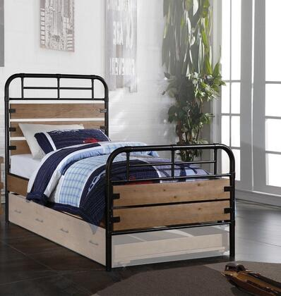Adams Collection 30610T Twin Size Panel Bed with Metal Frame  Wooden Panels  Engineered and Pine Wood Construction in Antique Oak